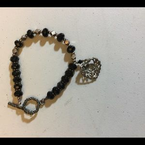 Jewelry - Black and Silver bead Bracelet  with silver heart